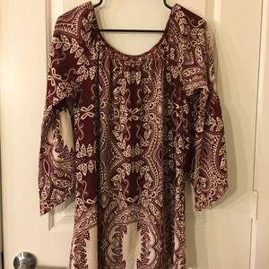 Long Maroon White Blouse off the shoulder top M